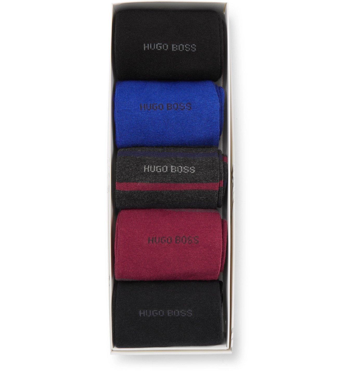 Photo: HUGO BOSS - Five-Pack Logo-Intarsia Cotton-Blend Socks - Multi