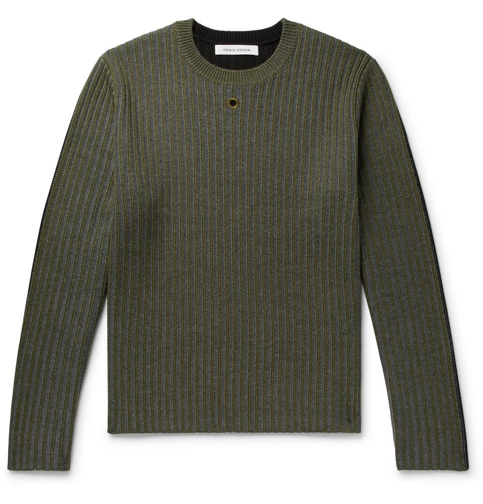 Photo: Craig Green - Colour-Block Ribbed Wool Sweater - Green