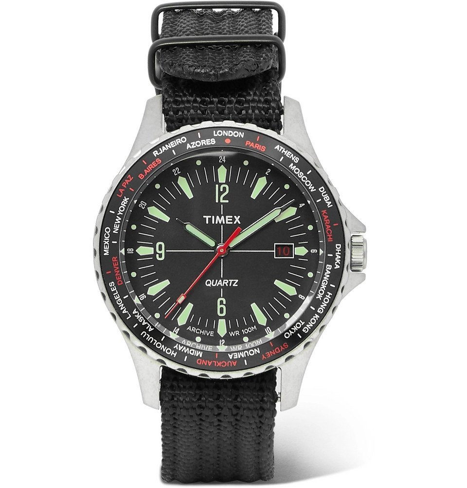 Photo: Timex - Navi World Time Stainless Steel and Nylon-Webbing Watch - Black