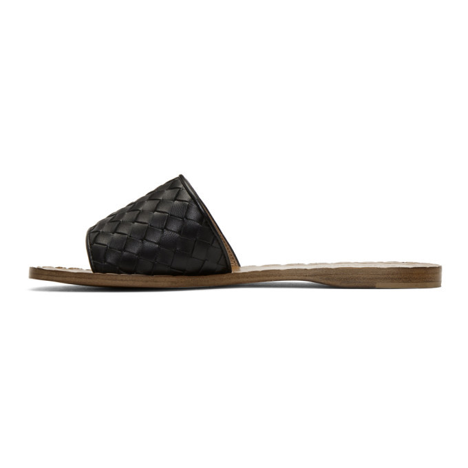 Bottega Veneta Black and Tan Intrecciato Slides