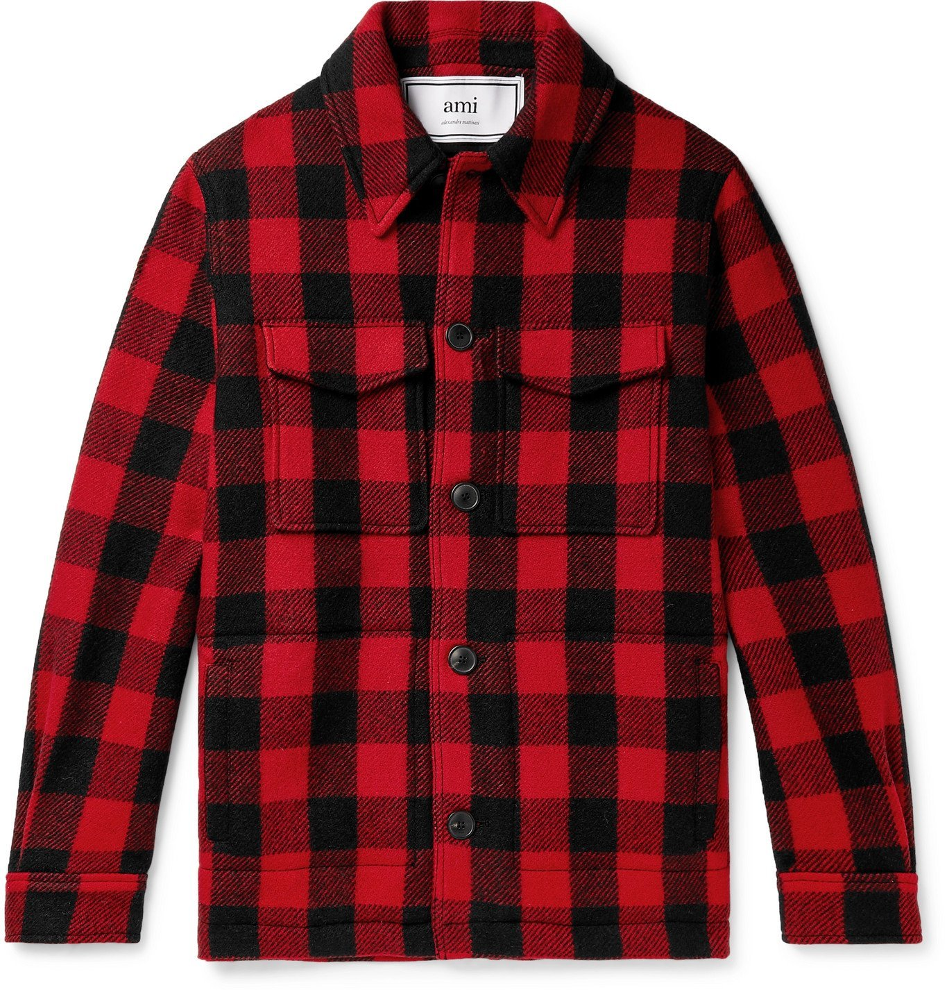 Photo: AMI PARIS - Checked Virgin Wool-Flannel Overshirt - Red