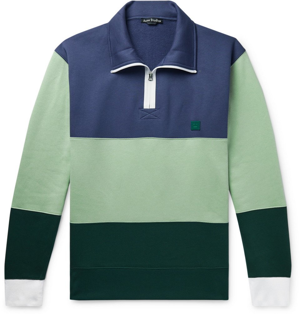 Photo: Acne Studios - Oversized Appliquéd Fleece-Back Cotton-Jersey Half-Zip Sweatshirt - Multi