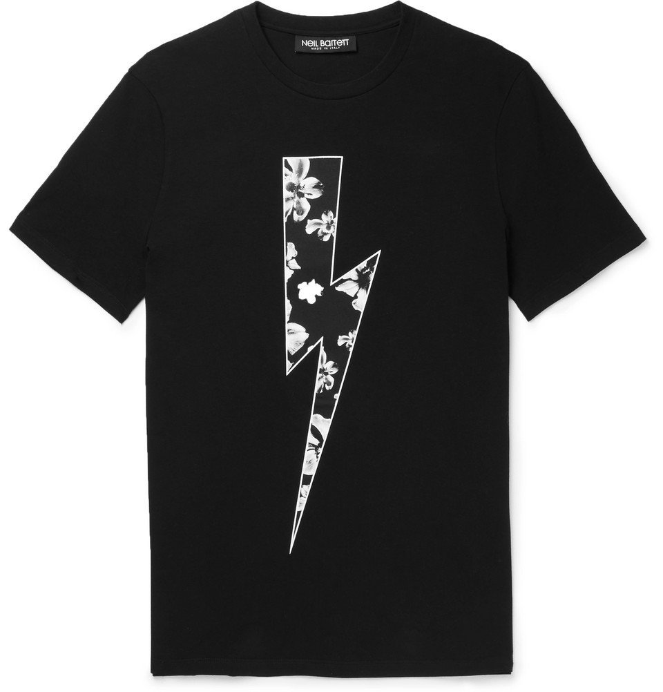 Photo: Neil Barrett - Slim-Fit Printed Stretch-Cotton Jersey T-Shirt - Black