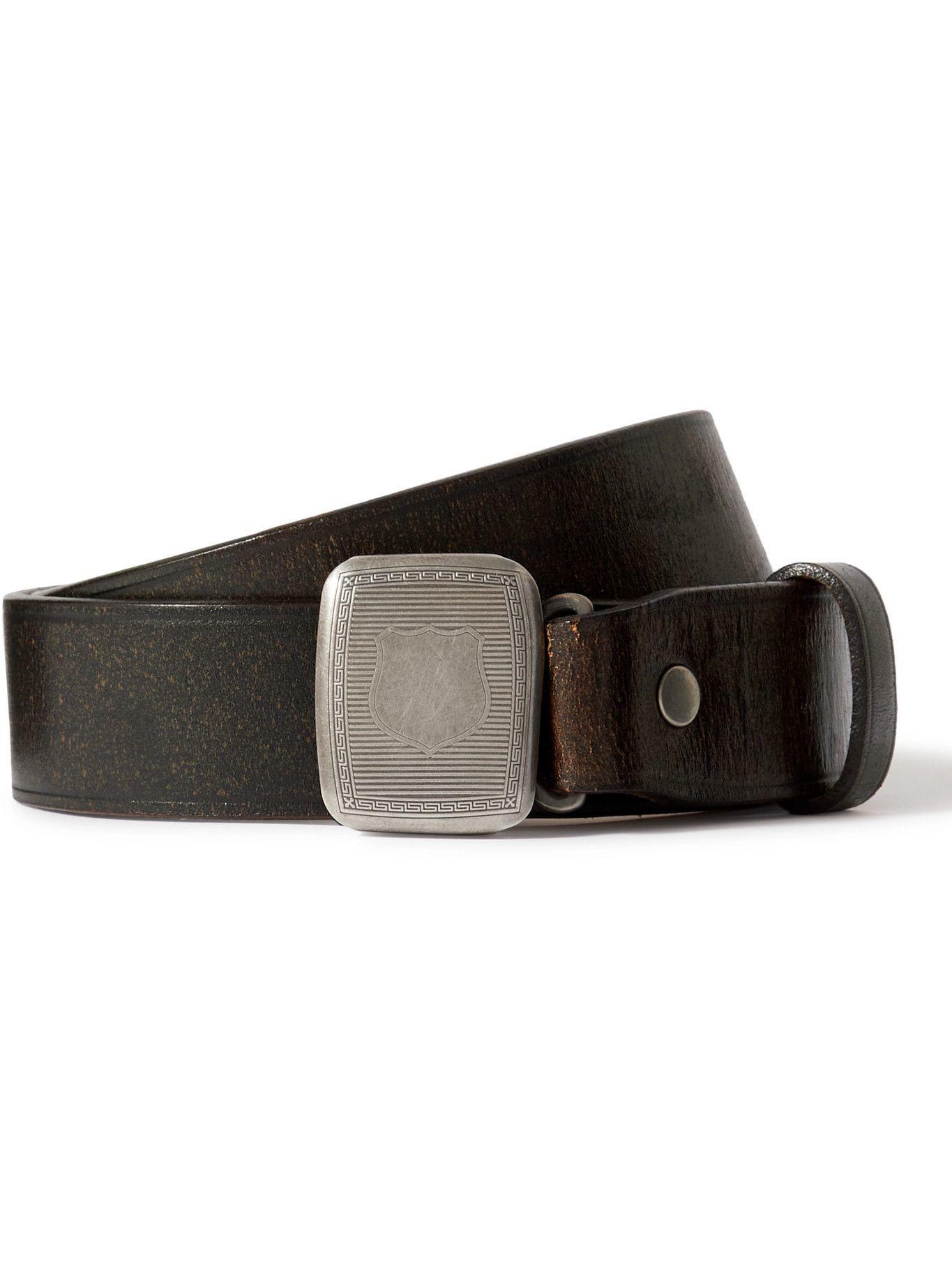 Photo: RRL - 3cm Distressed Leather Belt - Black