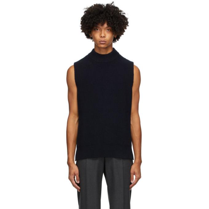 Photo: Marni Navy Wool Ribs Sleeveless Sweater