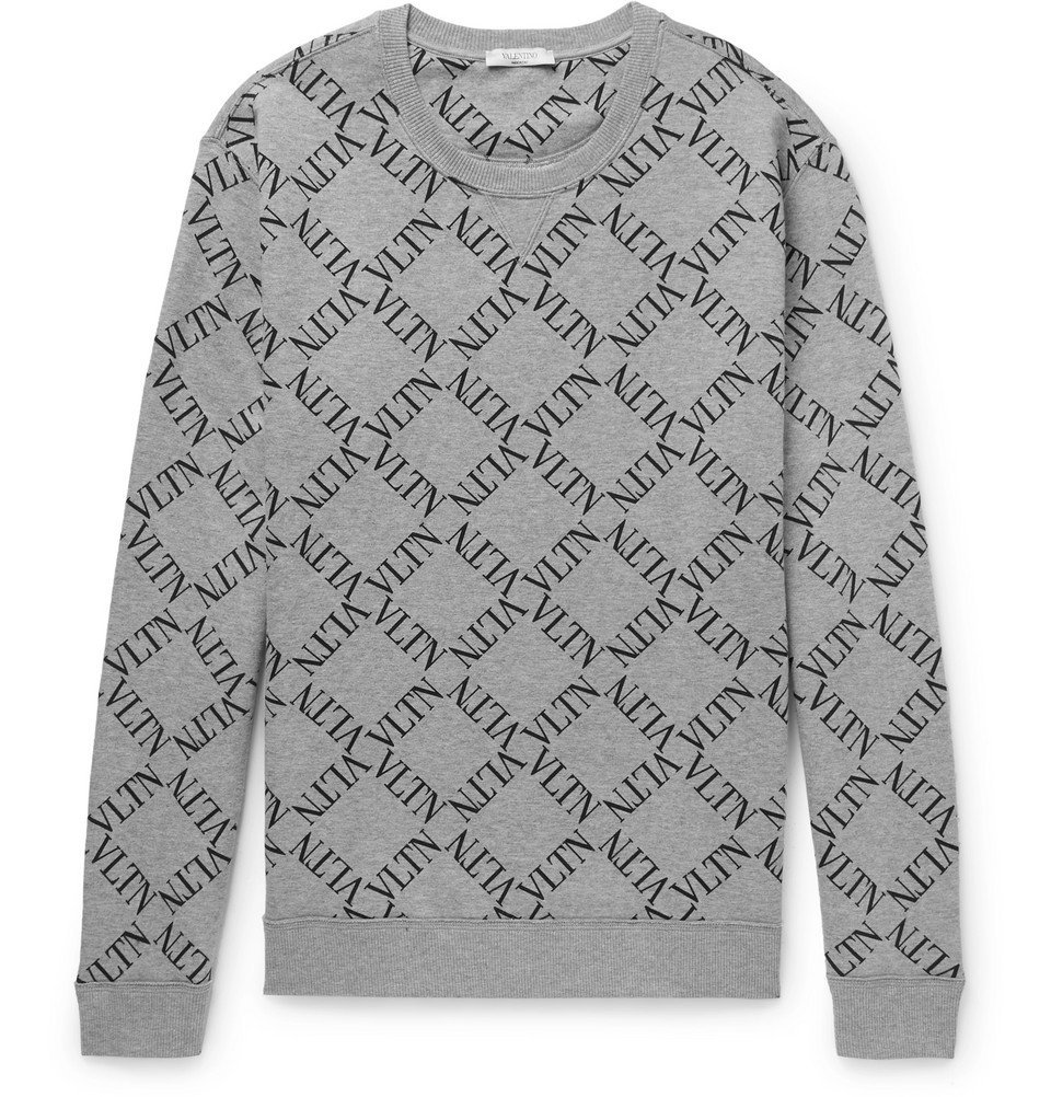 Photo: Valentino - Logo-Print Mélange Loopback Cotton-Blend Jersey Sweatshirt - Gray