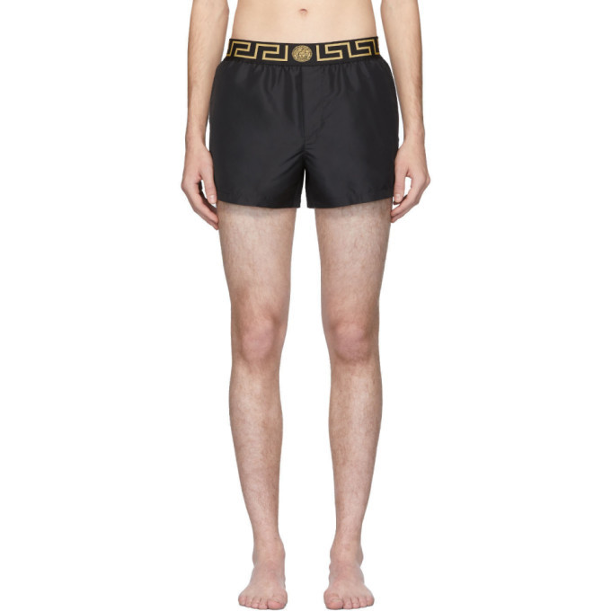 Photo: Versace Underwear Black and Grey Key Swim Shorts