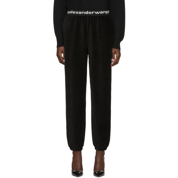 Photo: alexanderwang.t Black Corduroy Stretch Logo Lounge Pants