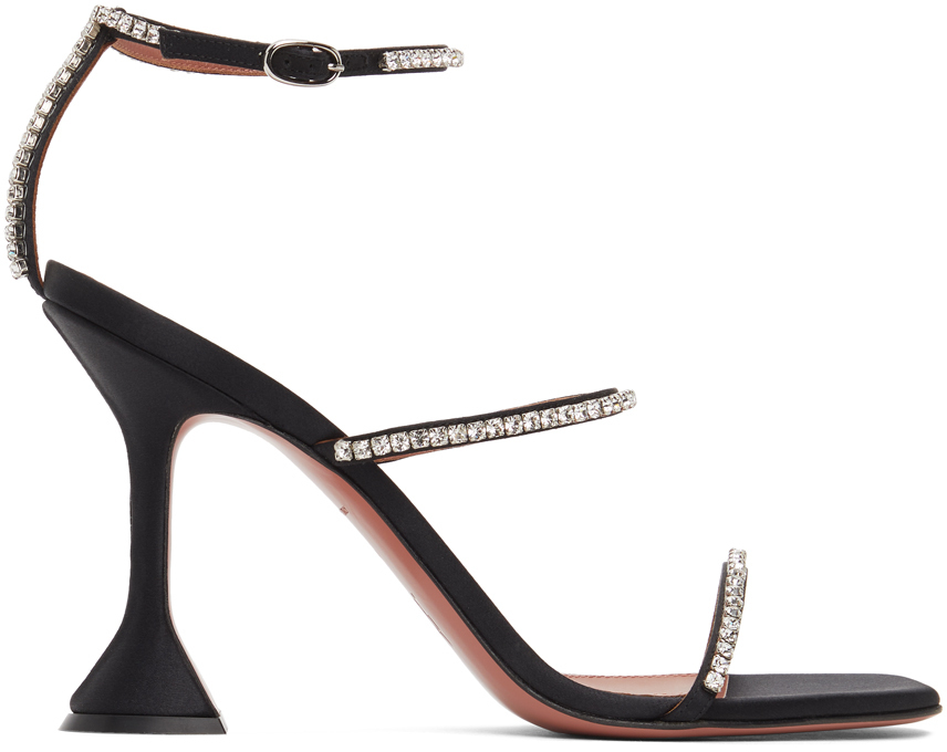 Photo: Amina Muaddi Black Satin Gilda Crystal Heeled Sandals