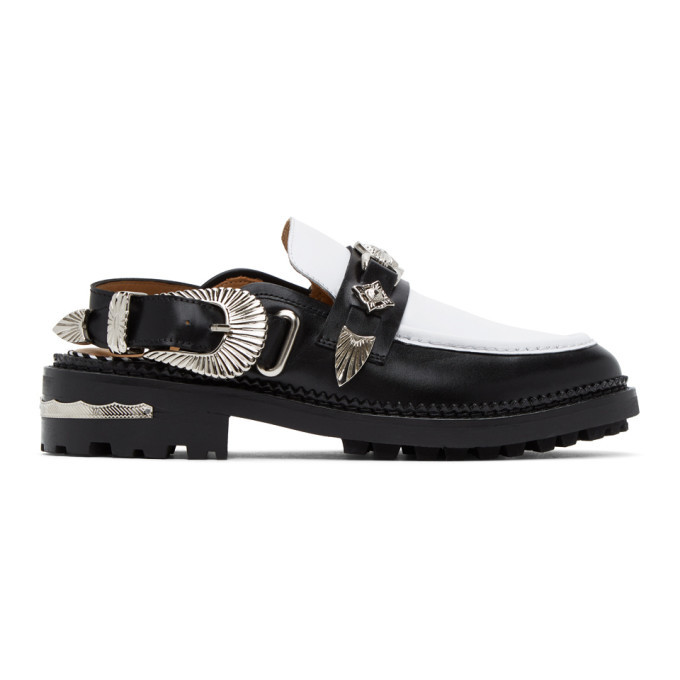 Photo: Toga Pulla Black and White Leather Mule Loafers