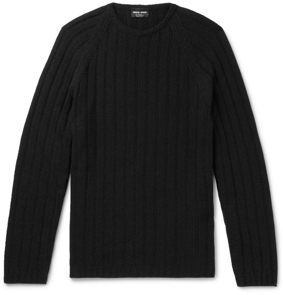 Giorgio Armani - Slim-Fit Ribbed Cashmere Sweater - Men - Black