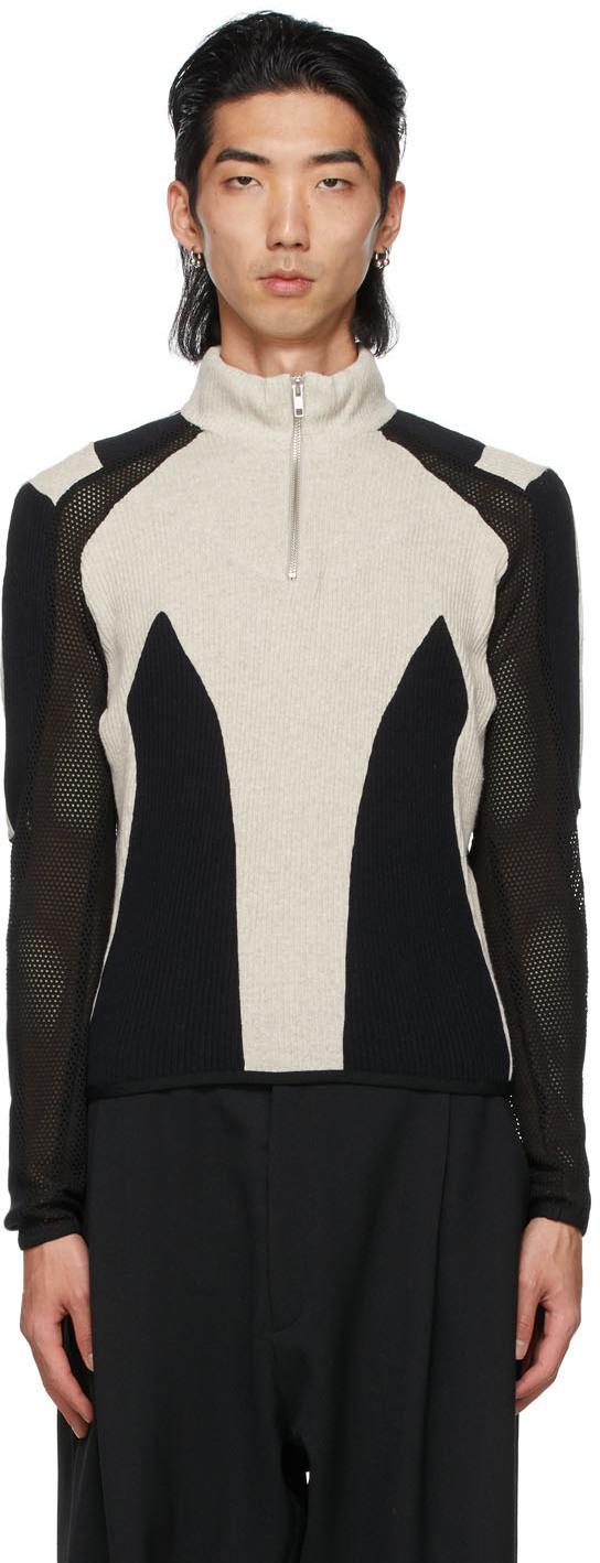 Photo: GmbH Black & Grey Paneled Atris Zip-Up Sweater