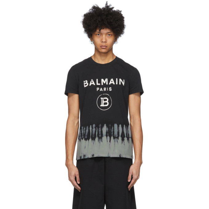 Photo: Balmain Black Tie-Dye Logo T-Shirt