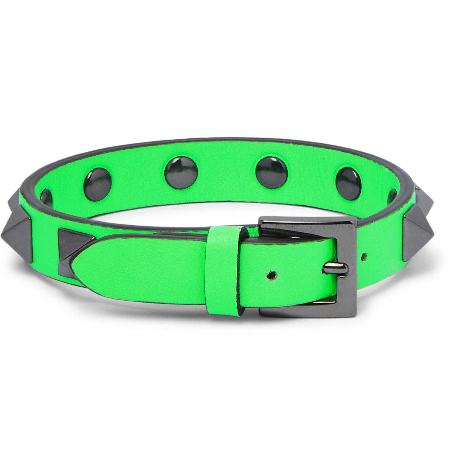 Valentino - Valentino Garavani Rockstud Leather and Ruthenium Bracelet - Green