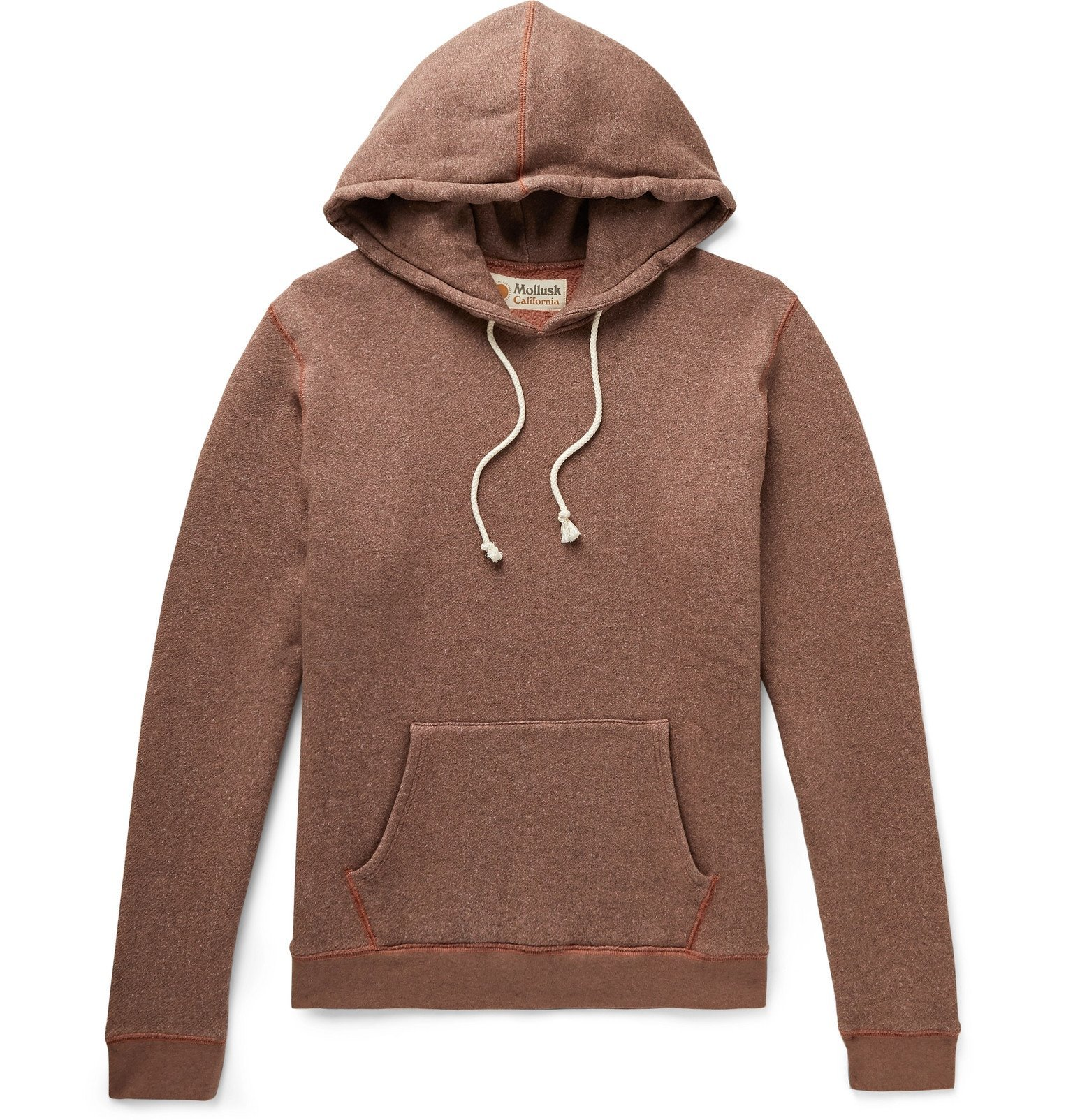 Photo: Mollusk - Mélange Loopback Stretch Cotton-Blend Jersey Hoodie - Brown