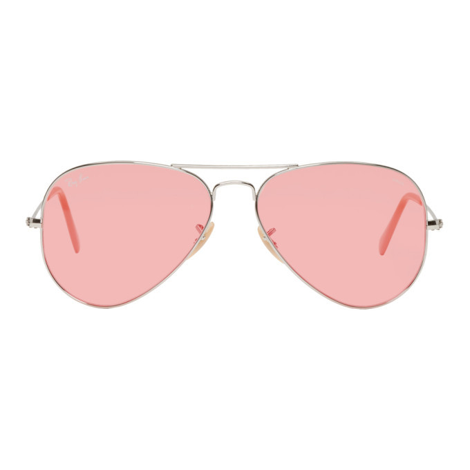 Photo: Ray-Ban Silver and Pink Pilot Aviator Sunglasses