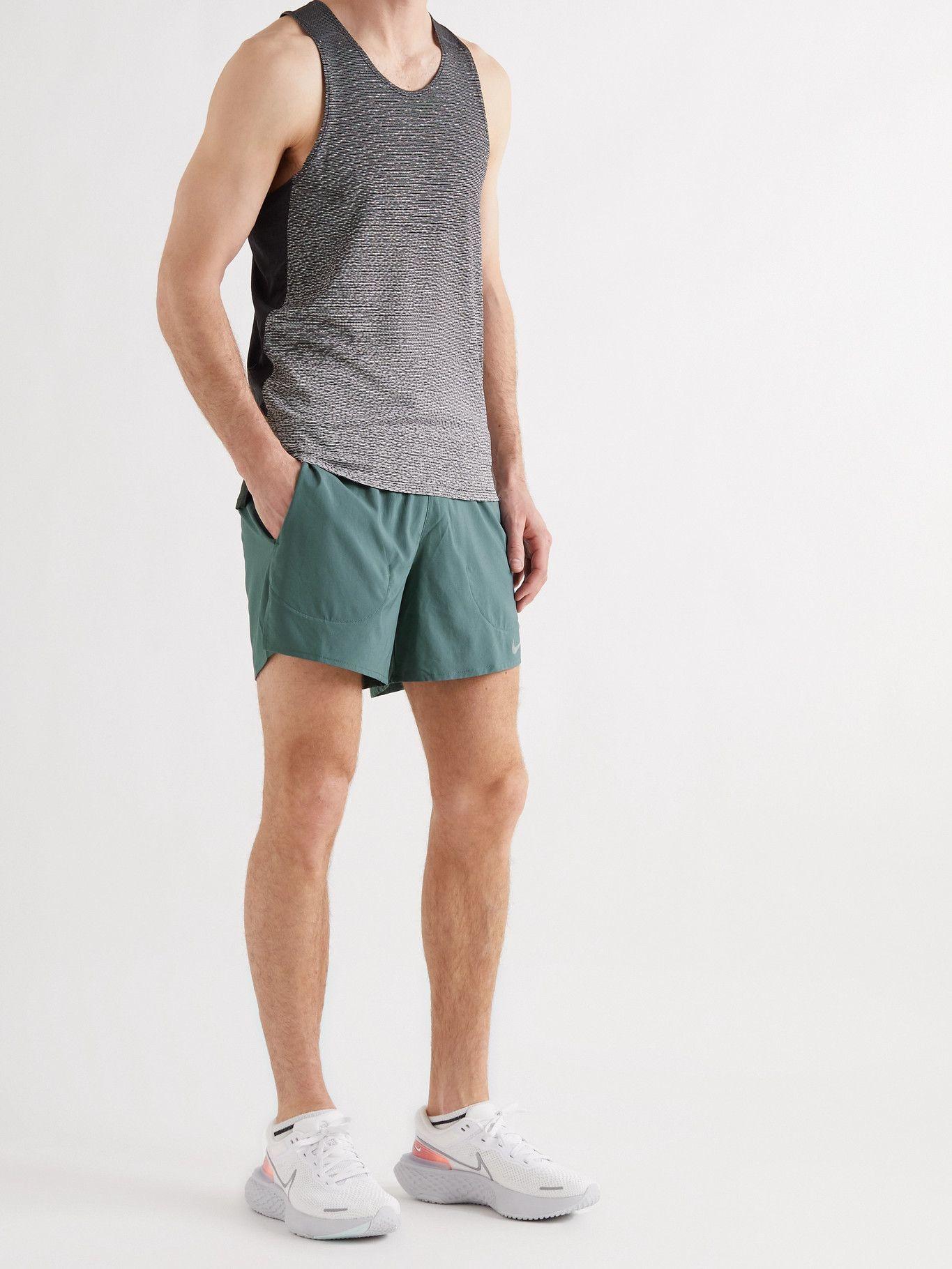 NIKE RUNNING - Flex Stride Dri-FIT Stretch-Shell Shorts - Green