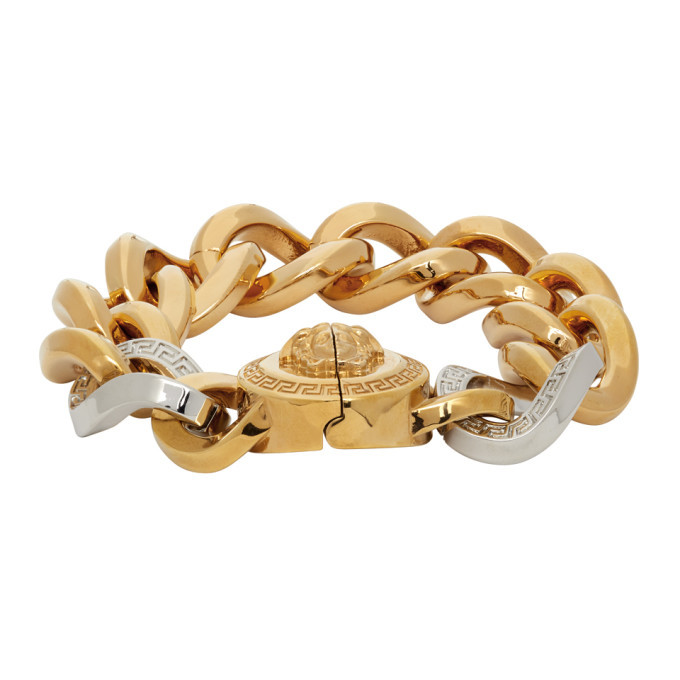 Photo: Versace Gold and Silver Medusa Chain Bracelet