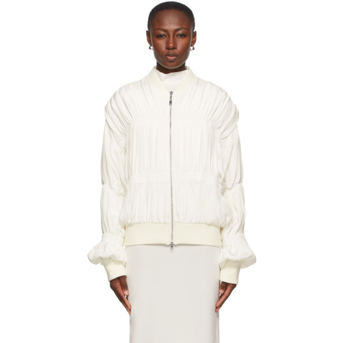 Photo: Winnie Off-White Silk Ruched Bomber Jacket