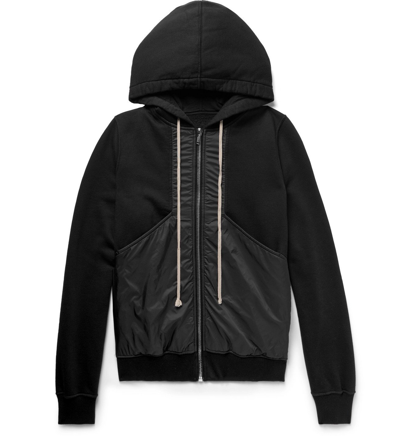 Photo: Rick Owens - DRKSHDW Panelled Fleece-Back Cotton-Jersey and Shell Zip-Up Hoodie - Black