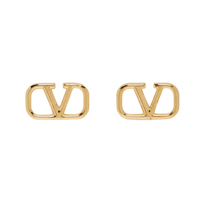 Photo: Valentino Gold Valentino Garavani VLogo Loop Earrings