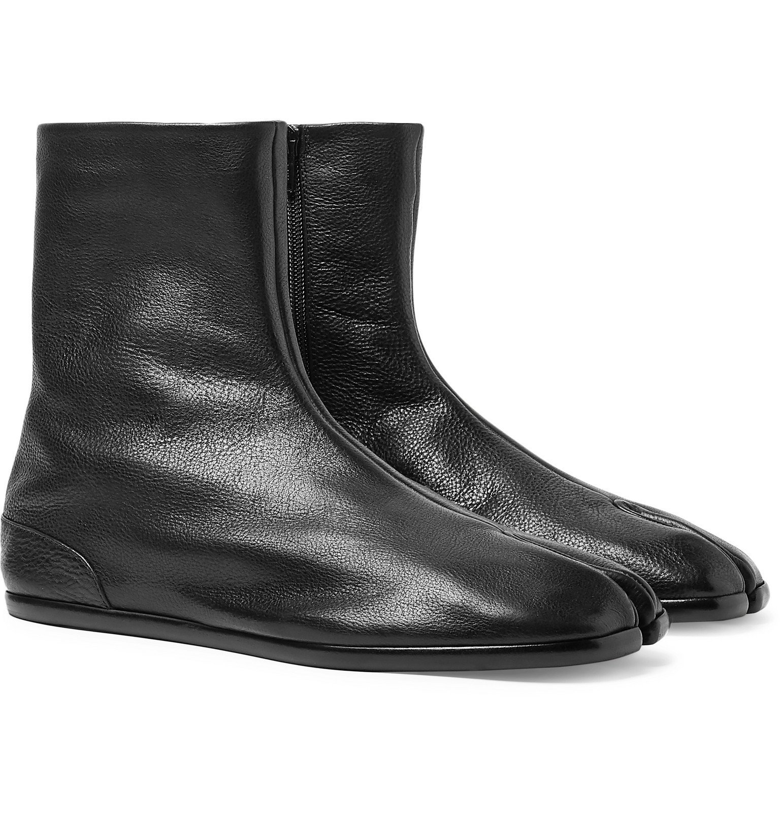 Photo: Maison Margiela - Tabi Split-Toe Leather Boots - Black