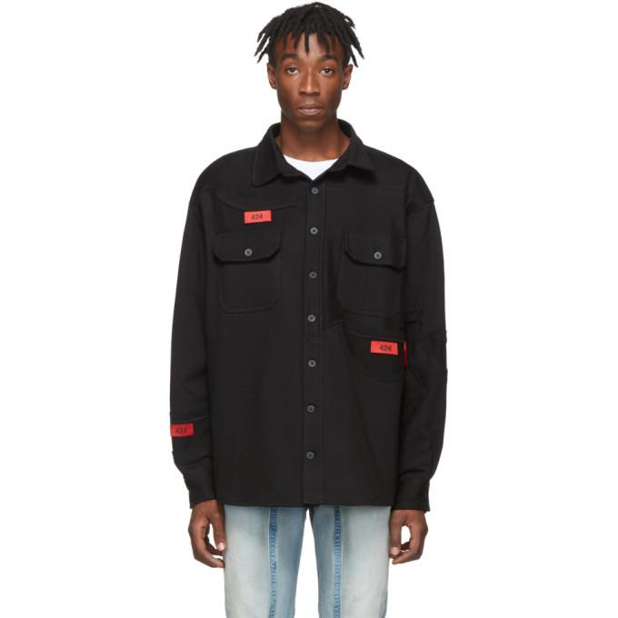 Photo: 424 Black Reworked Tee Work Shirt Jacket