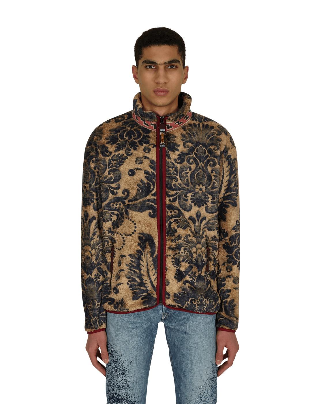 Photo: Kapital Damask Zip Virgin Mary Fleece Jacket Beige