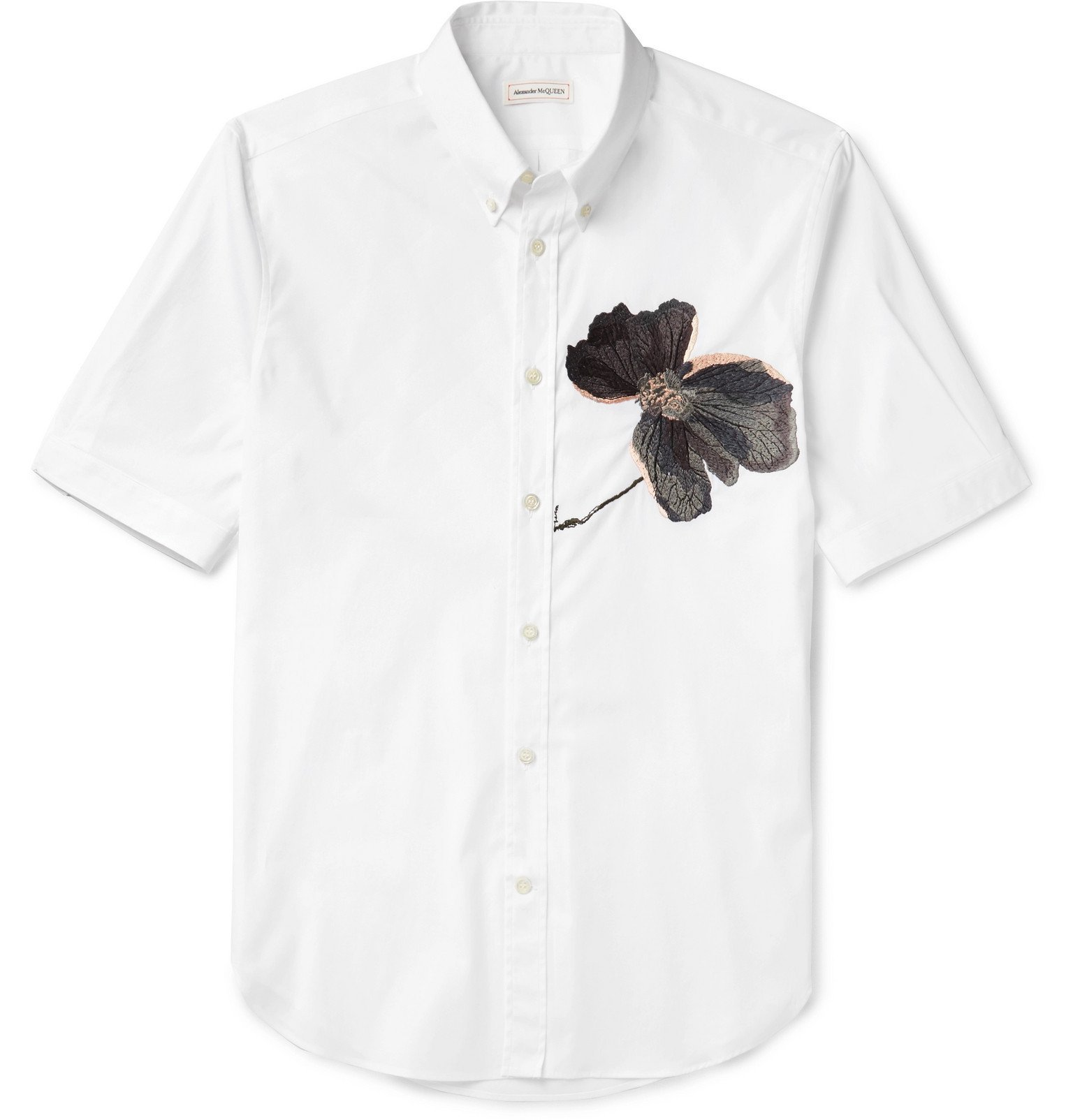 Photo: Alexander McQueen - Button-Down Collar Embroidered Cotton-Poplin Shirt - White