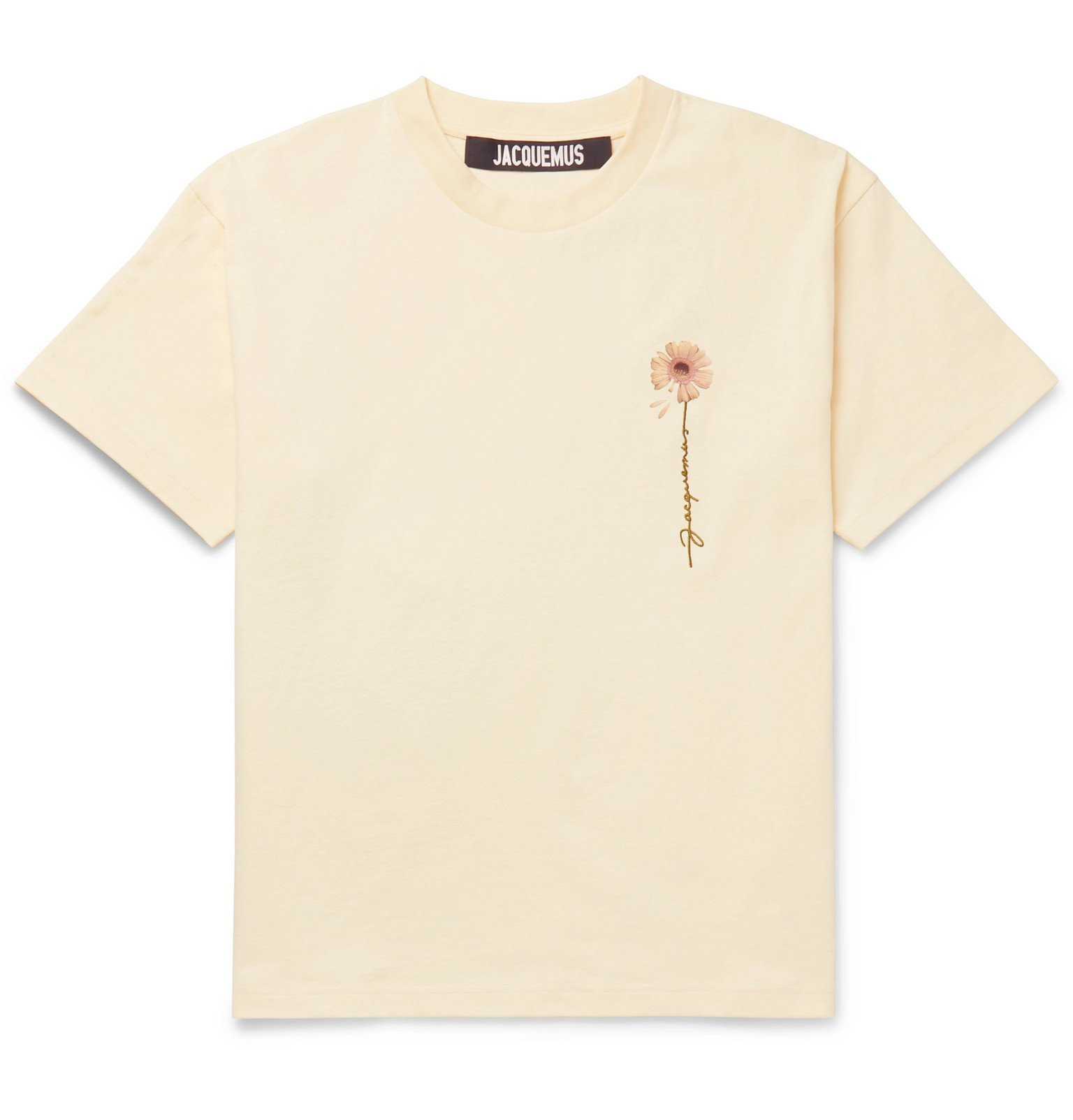Photo: Jacquemus - Logo-Embroidered Printed Cotton-Jersey T-Shirt - Yellow