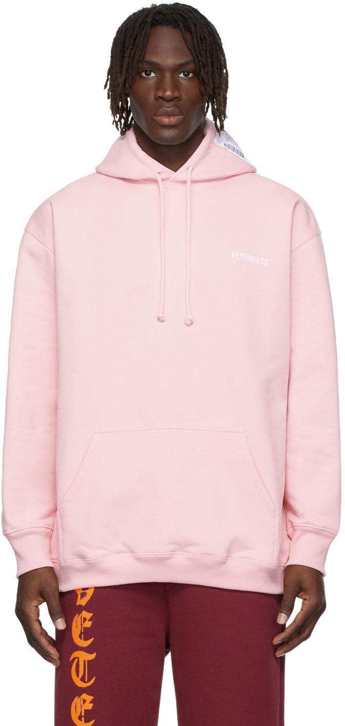 Photo: VETEMENTS SSENSE Exclusive Pink Logo Hoodie