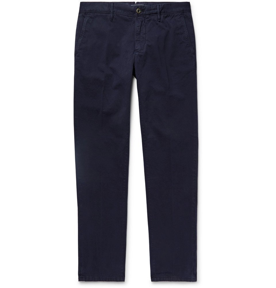 Photo: Incotex - Navy Slim-Fit Cotton-Twill Chinos - Navy