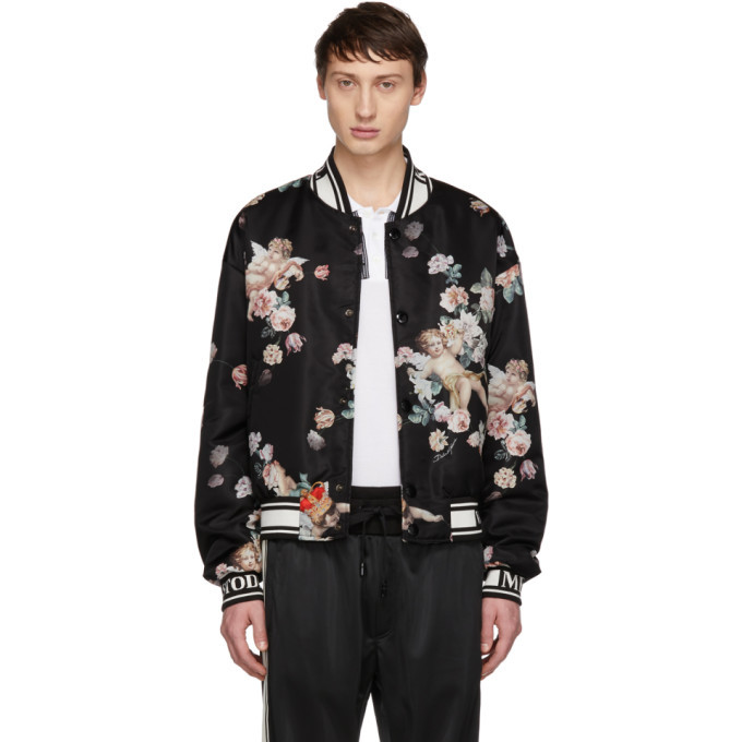 Photo: Dolce and Gabbana Black Floral Angels Bomber Jacket