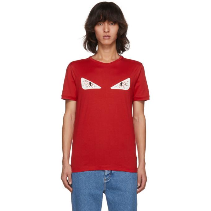 Photo: Fendi Red Tired Eye Bag Bugs T-Shirt
