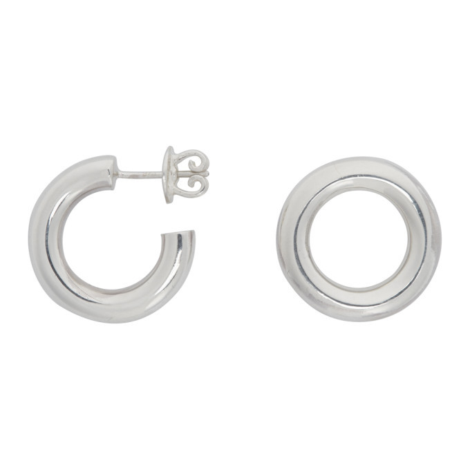 Photo: Numbering Silver Unbalanced Circle Earrings