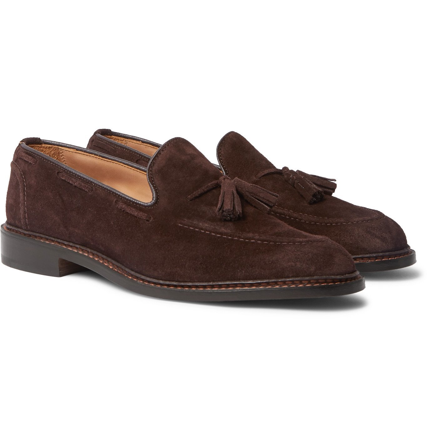 Photo: Tricker's - Elton Suede Tasselled Loafers - Brown