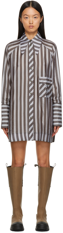 Photo: GANNI Grey & White Lightweight Stripe Mini Dress