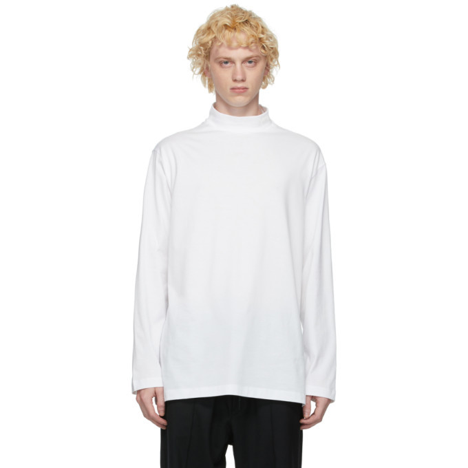 Photo: Y-3 White Classic Mock Neck Long Sleeve T-Shirt