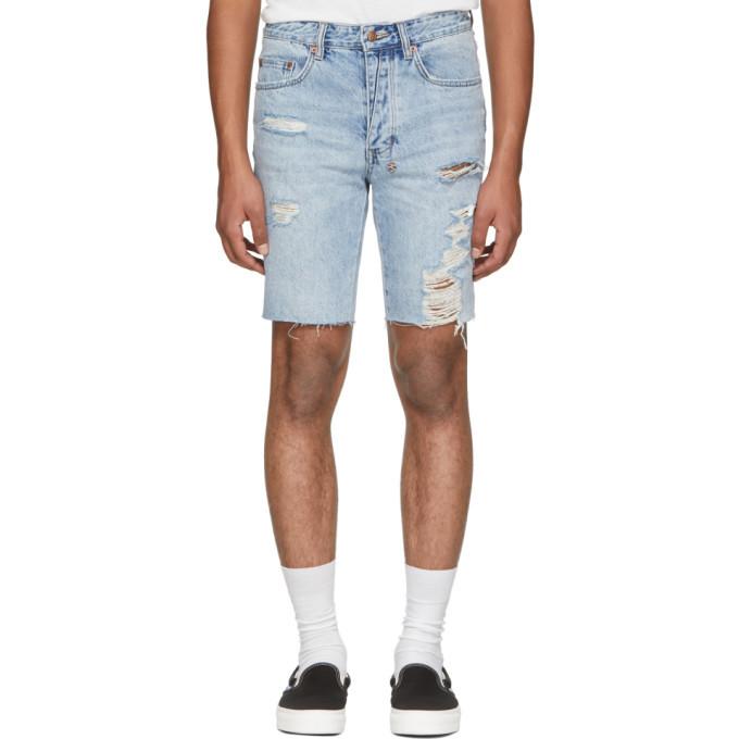 Ksubi Blue Ripped Axel Denim Shorts