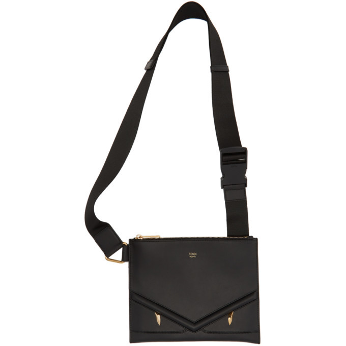 Photo: Fendi Black Slim Bag Bugs Messenger Bag