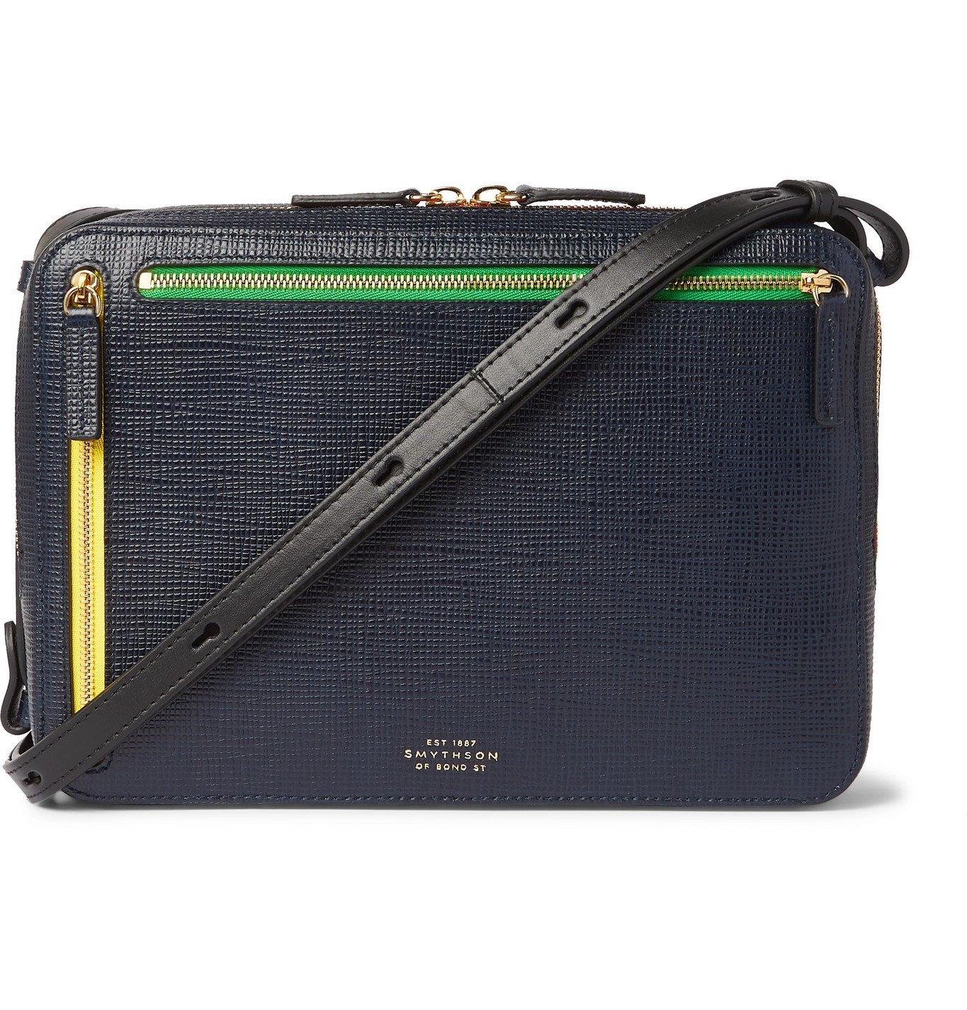 Smythson - Cross-Grain Leather Messenger Bag - Blue