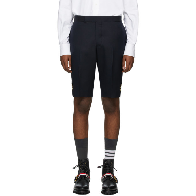 Photo: Thom Browne Navy Super 120s Vented Shorts
