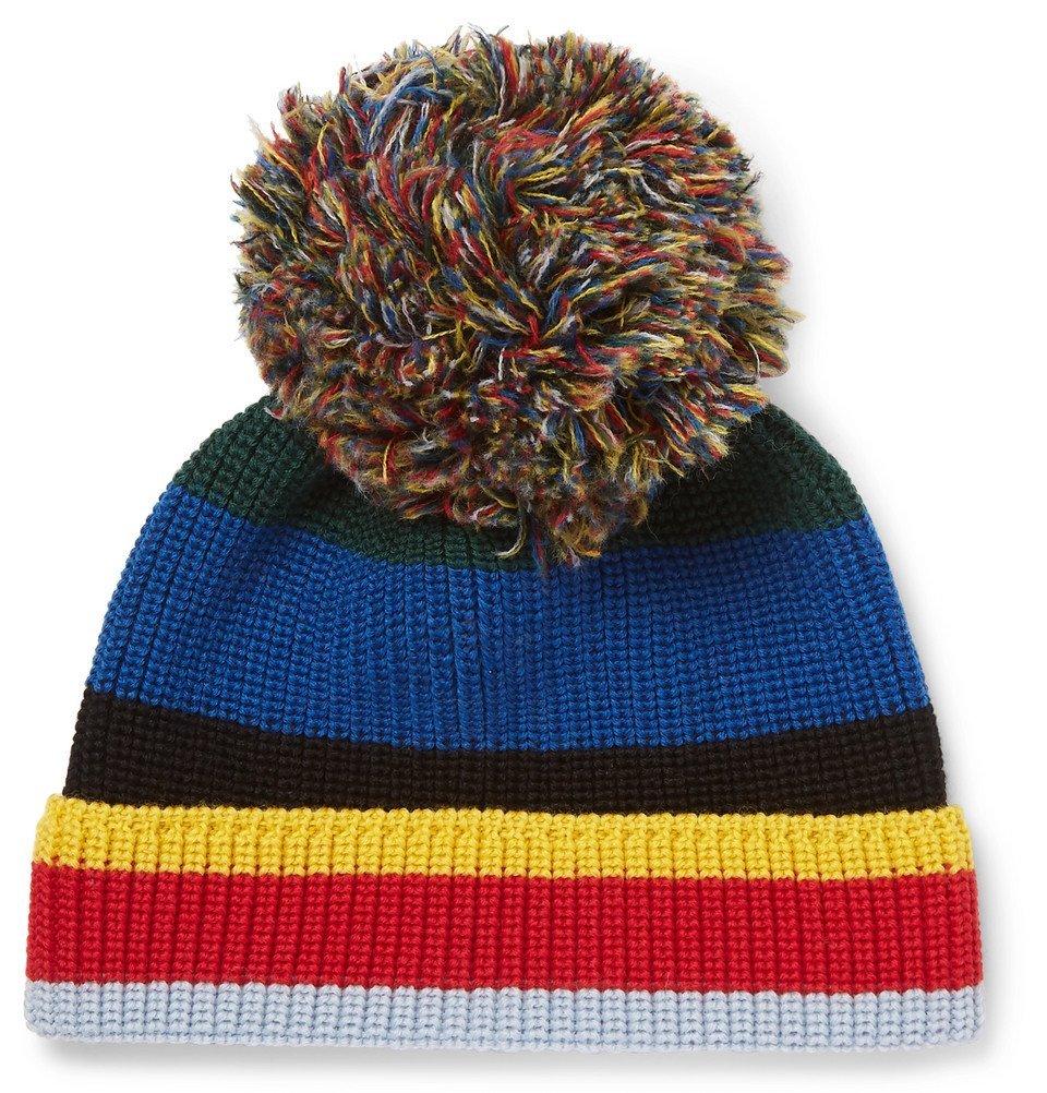 Photo: Loewe - Eye/LOEWE/Nature Striped Ribbed Wool Beanie - Blue
