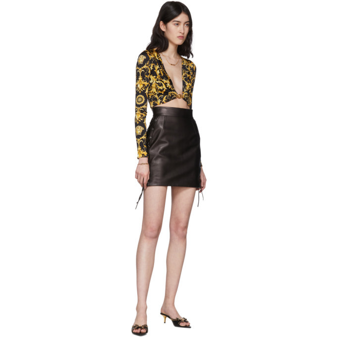 Versace Black Leather Laced Miniskirt