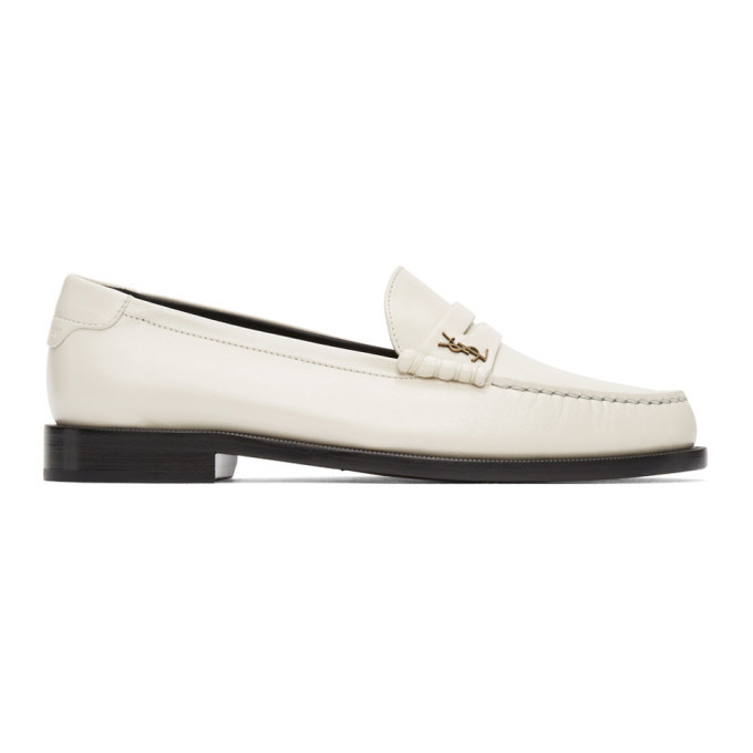 Photo: Saint Laurent Off-White Monogram Penny Loafers