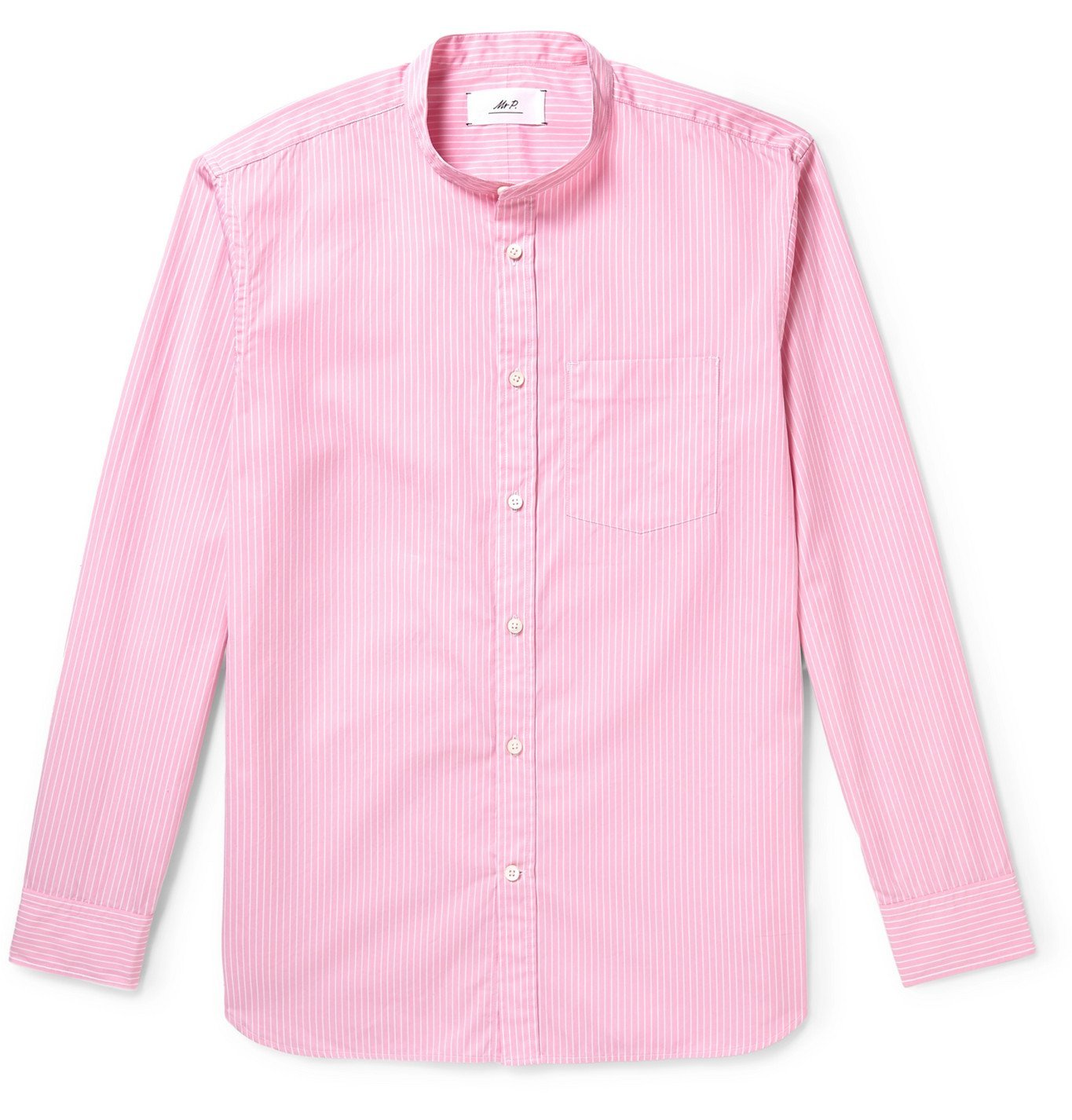 Photo: Mr P. - Grandad-Collar Striped Cotton-Poplin Shirt - Pink