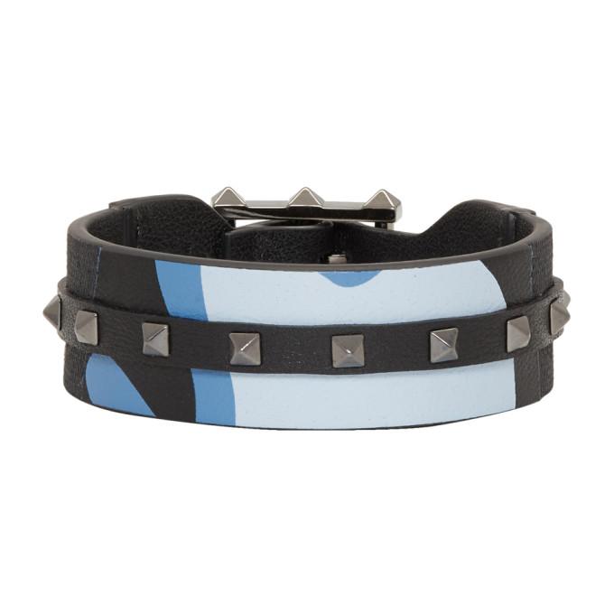 Photo: Valentino Blue Valentino Garavani Camo Rockstud Bracelet