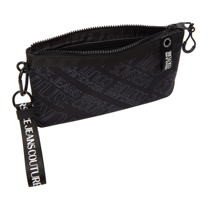 Versace Jeans Couture Black All Over Logo Pouch