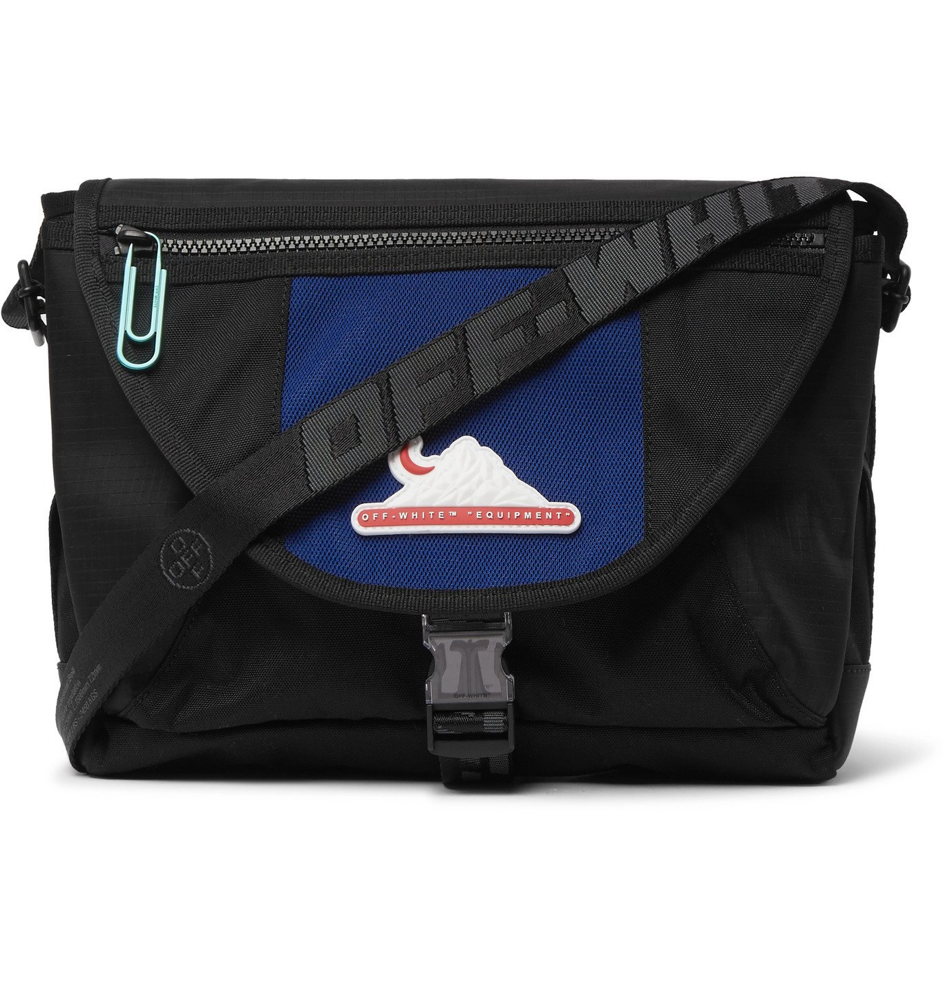 Photo: Off-White - Appliquéd Canvas and Ripstop Messenger Bag - Black