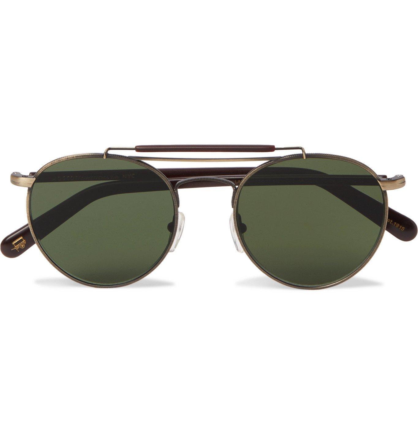 Photo: Moscot - Lazer Sun Aviator-Style Gold-Tone and Acetate Sunglasses - Gold